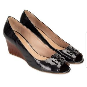 Tory Burch Lowell Patent Leather Peep Toe Shoes